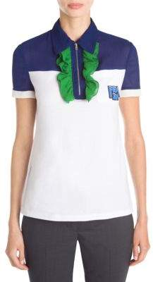 Prada Jersey Zip Ruffle Polo Shirt