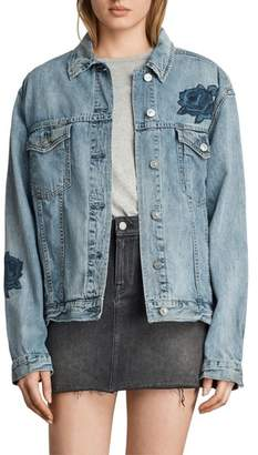 AllSaints Rose Embroidered Oversize Denim Jacket