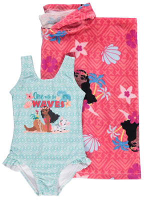 Disney George Moana Hooded Towel Poncho Swimsuit Set c6eb564fb