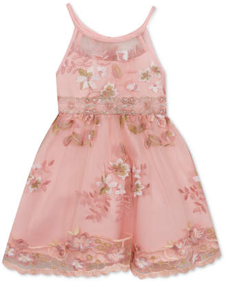 Rare Editions Toddler Girls Embroidered Illusion Neck Dress