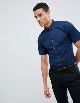 French Connection Plain Poplin Stretch Short Sleeve Shirt