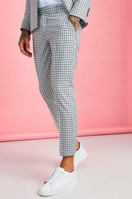 boohoo Gingham Skinny Fit Cropped Suit Trouser