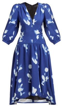 Proenza Schouler Rose Print V Neck Crepe Dress - Womens - Blue Multi