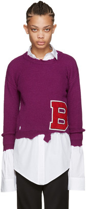 Raf Simons Purple Destroyed 'B' Sweater $760 thestylecure.com