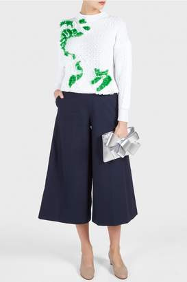 DELPOZO Embroidered Braided Sweater