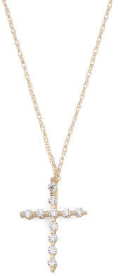14k Gold Cz Cross Necklace