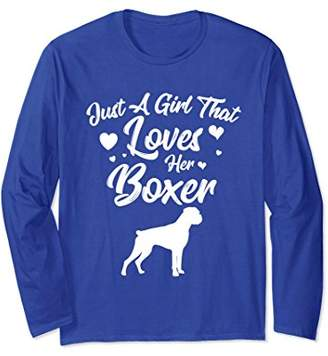 Just A Girl That Loves Her Boxer Graphic Long Sleeve T Shirt