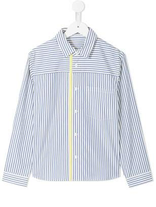 Familiar striped contrast band shirt