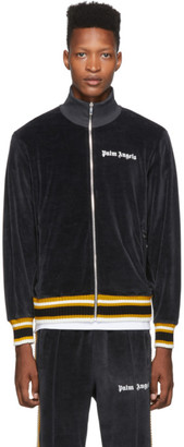 Palm Angels Black and White Chenille Track Jacket