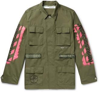 Off-White Logo-Print Cotton-Blend Field Jacket
