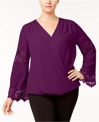 INC International Concepts I.n.c. Plus Size Lace-Inset Surplice Blouse