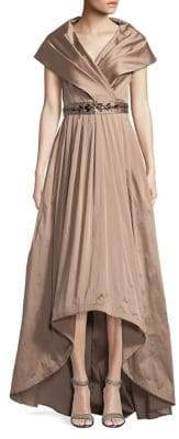 Adrianna Papell Pleated Shawl Hi-Lo Gown