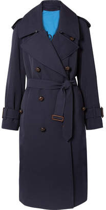Burberry The Regina Oversized Wool-gabardine Trench Coat - Navy