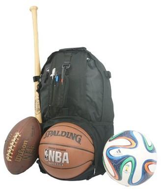 K-Cliffs Baseball Backpack Softball Daypack Basketball Volleyball Backpack Football Soccer Bag w/ Ball Storage Helmet Compartment & Bat Holder & Coin Phone Pouch - Black