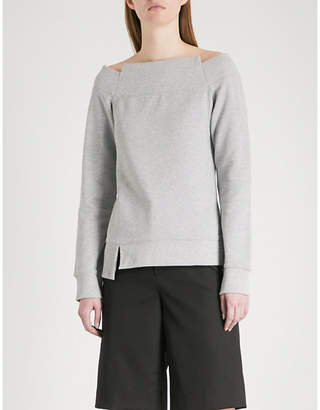Mo&Co. Off-the-shoulder cotton-jersey sweatshirt