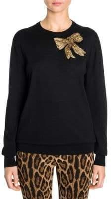 Dolce & Gabbana Embellished Bow Cashmere Sweater