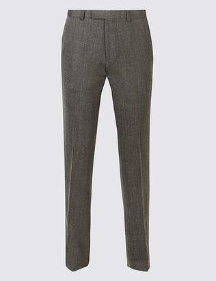 Marks and Spencer Grey Textured Modern Slim Fit Trousers