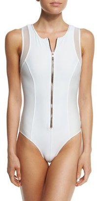 Luxe by Lisa Vogel Afterglow Zip-Front Mesh-Trim One-Piece Swimsuit $158 thestylecure.com