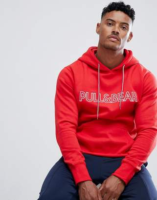 Pull&Bear hoodie in red with logo