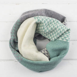 Miss Knit Nat Triangle Knitted Circle Scarf In Mint