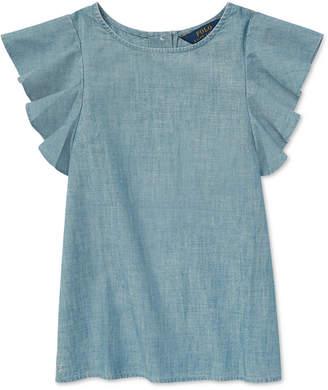 Polo Ralph Lauren Big Girls Chambray Flutter-Sleeve Cotton Top