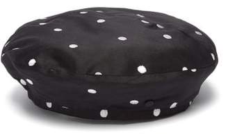 Maison Michel New Billy Polka Dot Silk Beret - Womens - Black