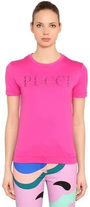 Emilio Pucci Glitter Logo Print Cotton Jersey T-Shirt