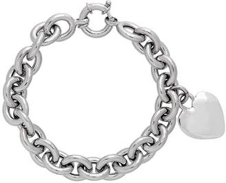 FINE JEWELRY Made in Italy Sterling Silver Heart Charm Bracelet