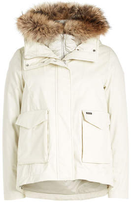 Woolrich 3 in 1 Military Down Jacket with Fur-Trimmed Hood
