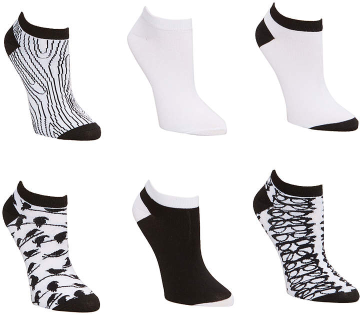Black & White Glasses Six-Pair No-Show Sock Set