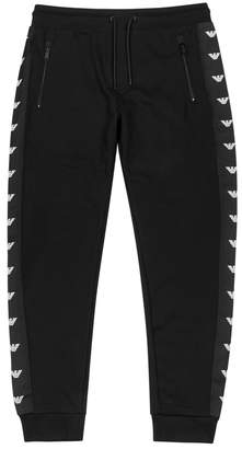 Emporio Armani Black Logo-embroidered Jogging Trousers