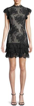 Misha Fiona Sheer Floral Lace Mini Cocktail Dress