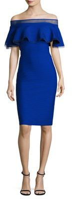 Tadashi Shoji Solid Off-The-Shoulder Dress $308 thestylecure.com