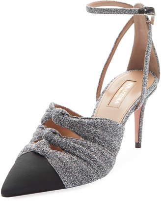 Aquazzura Mondaine Glitter Mid-Heel Ankle-Wrap Pumps