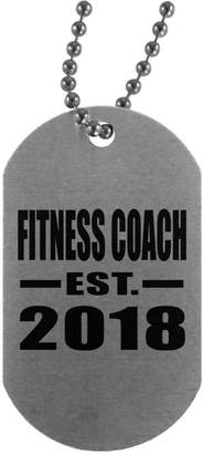 Coach Designsify Fitness Established EST. 2018 - Military Dog Tag, Aluminum ID Tag Necklace, Best Gift for Birthday, Wedding Anniversary, New Year, Valentine's Day, Easter, Mother's/Father's Day