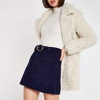 River Island Navy cord belted mini skirt