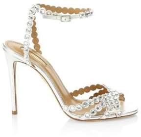 Aquazzura Women's Tequila Crystal Studded Leather Sandals - Silver - Size 40 (10)