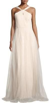 Donna Morgan Keyhole Halter-Neck Mesh Gown, Beige $199 thestylecure.com