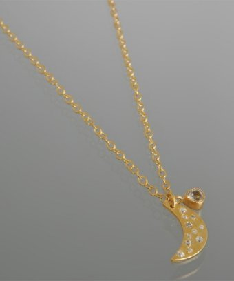 Kevia gold CZ crescent pendant necklace