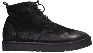 Marsèll Black Leather Sancrispa Mid Sneakers