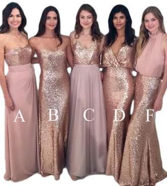 XingMeng Modest Sequin Prom Dresses Long Mermaid Bridesmaid Dress for Women US