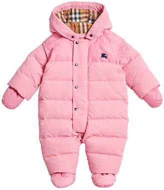 Burberry Ezra Hooded Puffer Snowsuit, Size 6-18 Months