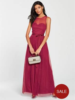 Little Mistress Mesh Top Maxi Dress - Berry