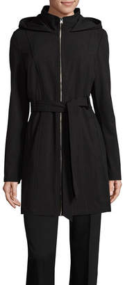 Liz Claiborne Hooded Belted Midweight Softshell Jacket