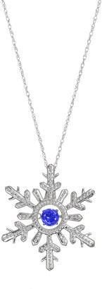 Sterling Silver Lab-Created Sapphire Snowflake Pendant Necklace