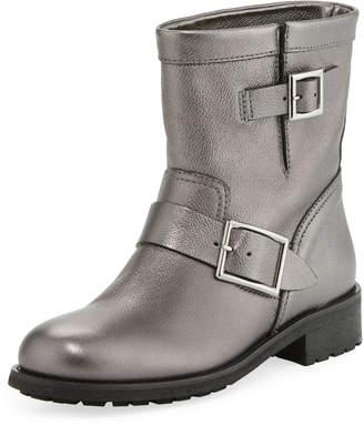 Jimmy Choo Youth Flat Metallic Leather Moto Boots