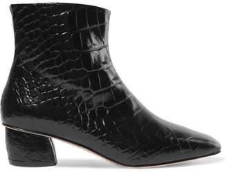 LOQ - Matea Croc-effect Leather Ankle Boots - Black