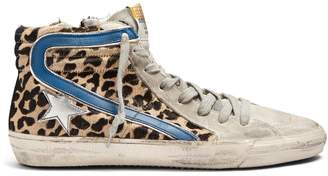 Golden Goose Slide high-top calf-hair trainers
