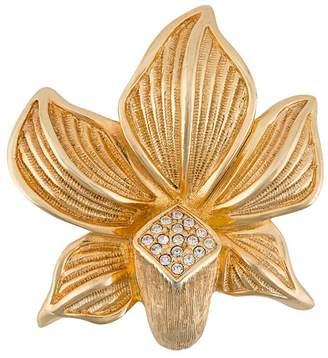 Christian Dior Pre-Owned 1980s embellished flower brooch