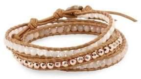 Chan Luu Quartz, Sunstone, Leather & Sterling Silver Wrap Bracelet
